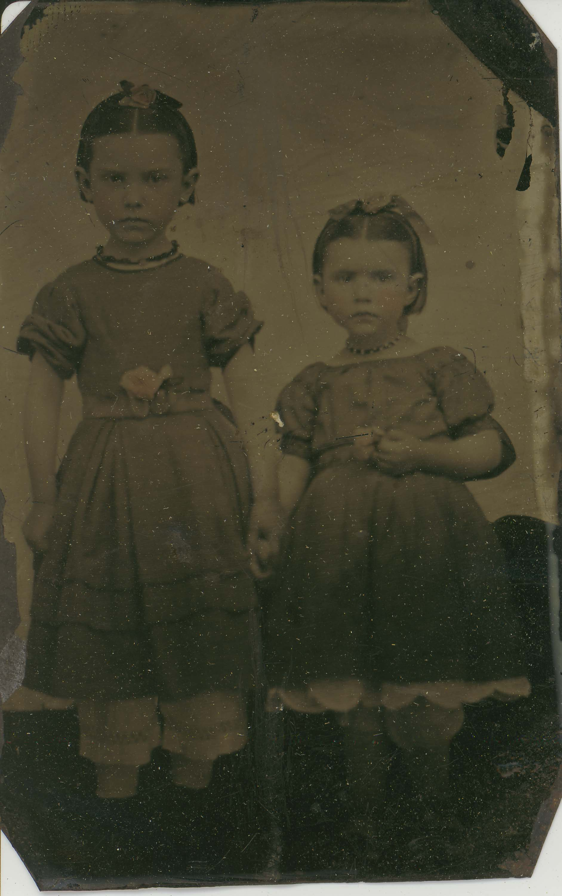 Tin-type-12-Two-girls-with-bows-and-roses