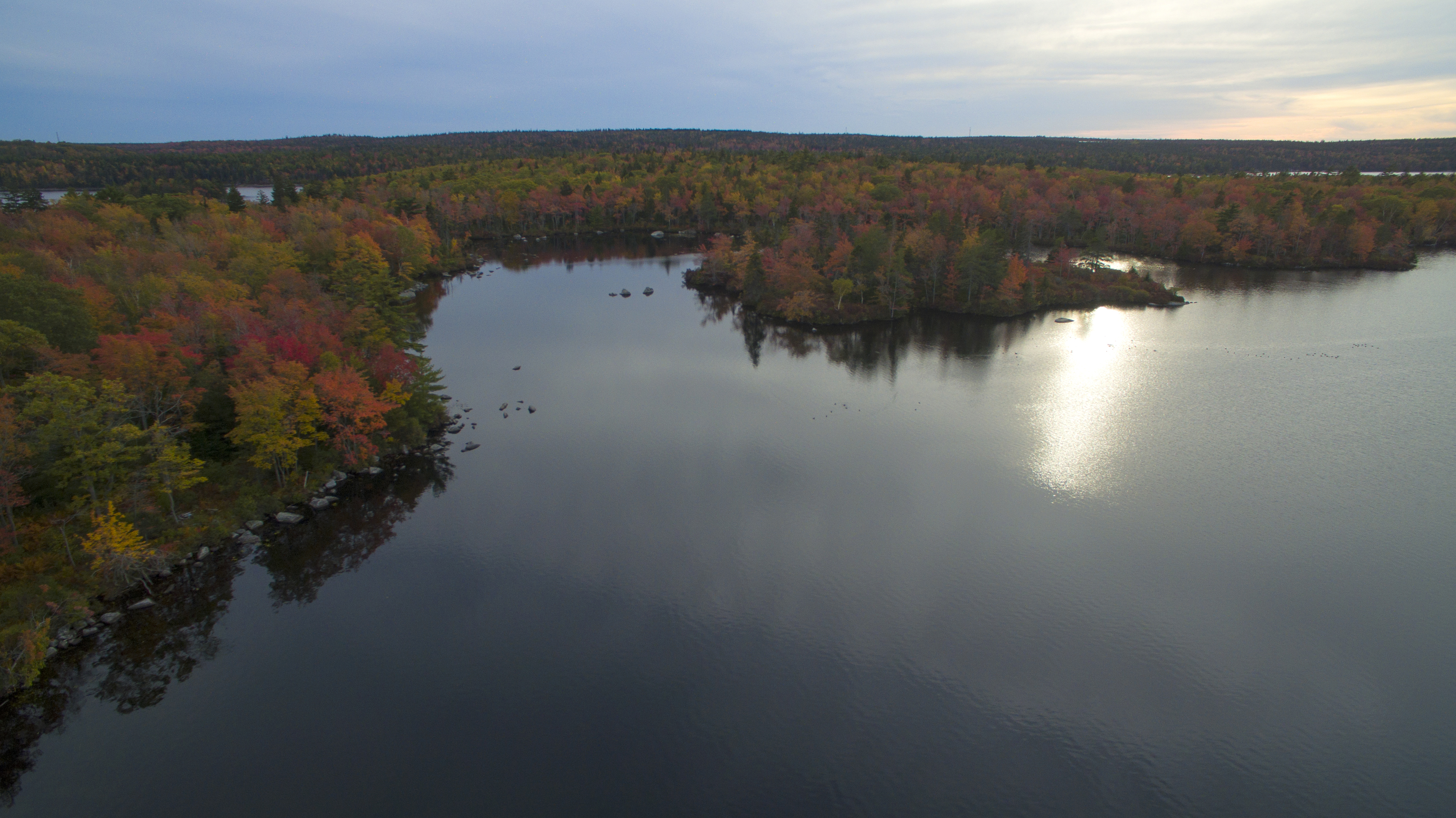 A view over Withrod lake at the Lakeview Trail in Long Lake Provincial Park, Halifax, Nova Scotia.