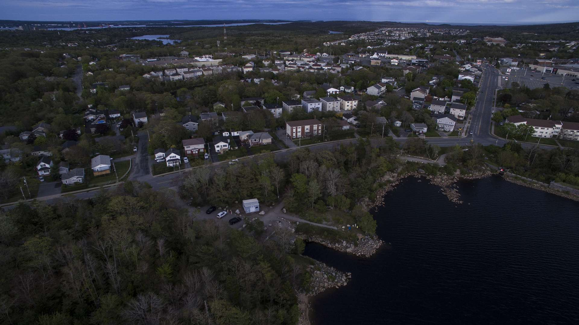A view of Old Sambro road to Dentith road, showing the kayak Launch area and part of the dam at Long Lake Provincial Park in Spryfield on June 1, 2020.