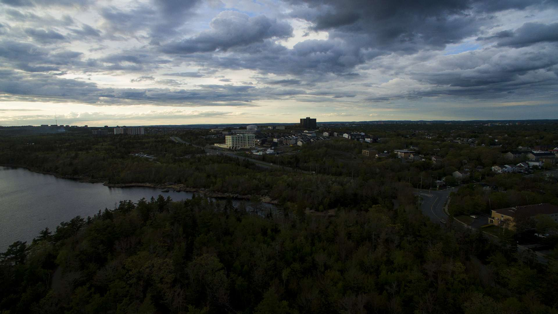 Dramatic clouds pass over Cowie Hill area and Long Lake Park on June 1, 2020.