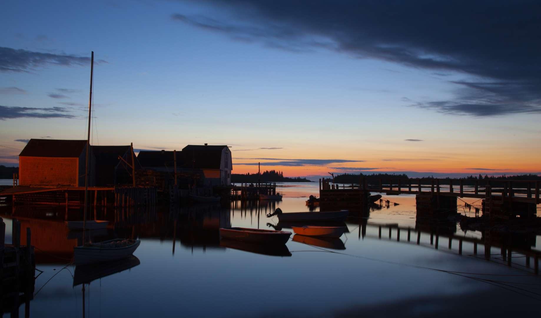 The Sun rises at the fishing village Blue Rocks, in Lunenburg, County, Nova Scotia.